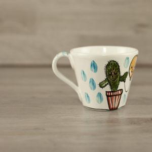 Tazza cappuccino con disegno cactus
