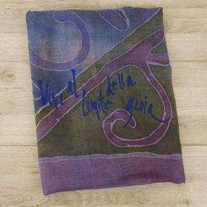 Pashmina viola unisex dipinta a mano