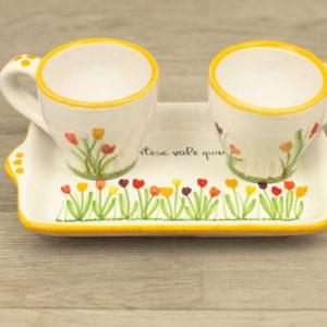 Set caffè doppio tulipani colorati