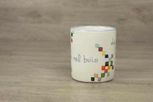 Bicchiere artigianale in ceramica dipinto a mano