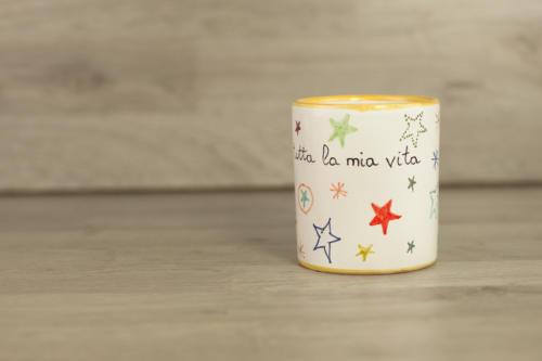 Bicchiere personalizzato con scritta e stelle colorate