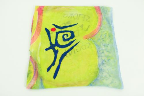 Foulard unisex multicolore, in pura seta, con scritta personalizzata