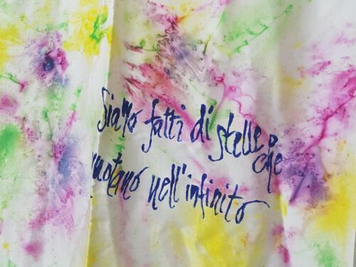 Foulard seta multicolore dipinto a mano