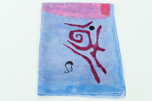 Foulard seta azzurro e corallo dipinto