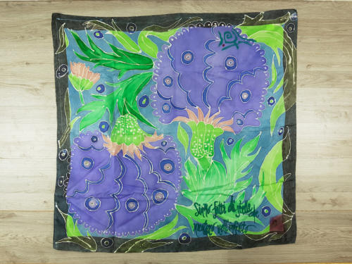Foulard seta chiffon quadrato dipinto a mano