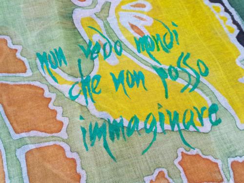 Pashmina unisex verde scuro artistica e pezzo unico