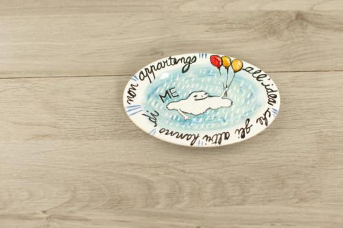Piattino personalizzato dipinto a mano con citazione