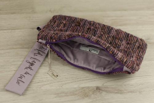 Pochette personalizzata lana viola, elegante con scritta