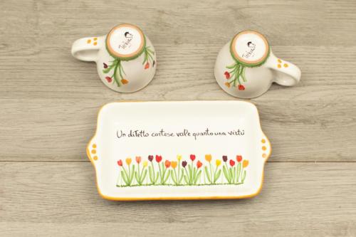 Set caffè in ceramica con disegno di tulipani colorati