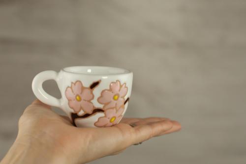 Set tazzine personalizzate con fiori rosa